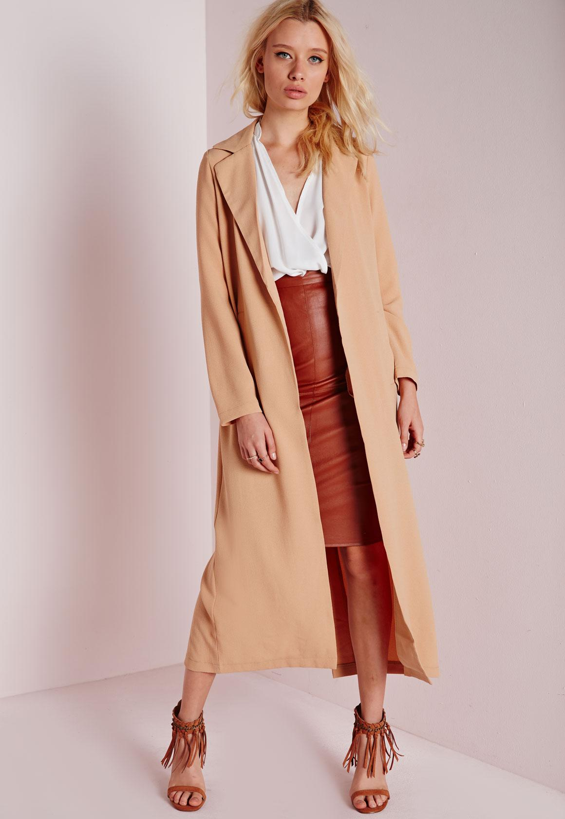 Long Sleeve Maxi Duster Coat Camel | Missguided