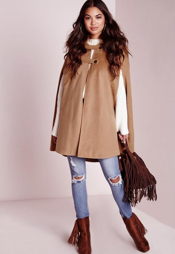 Wool Cape with Fur Collar Tan