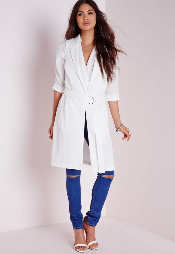 Draped Longline Belted Trench Coat White