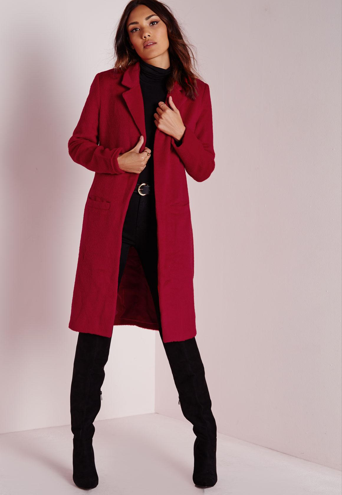 Brushed Wool Coat Red | Missguided