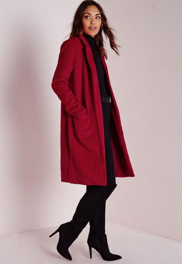 manteau rouge en laine bross e missguided