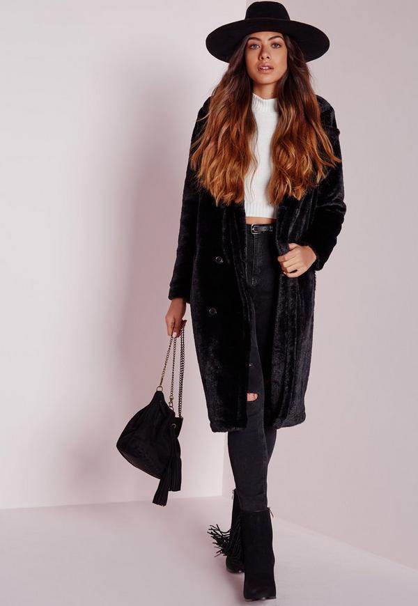 Longline Double Breasted Teddy Fur Coat Black