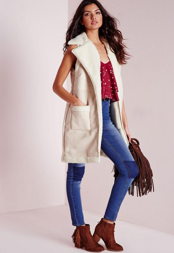 Sleeveless Shearling Gilet Cream