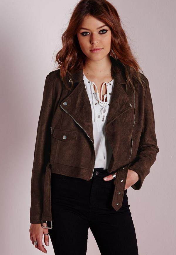 Faux Suede Biker Jacket Brown | Missguided