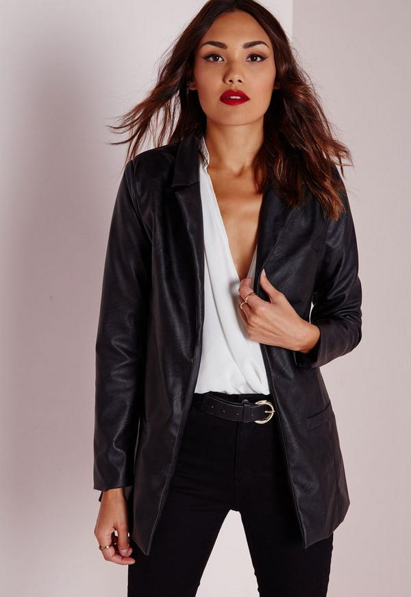 Faux Leather Longline Blazer Black