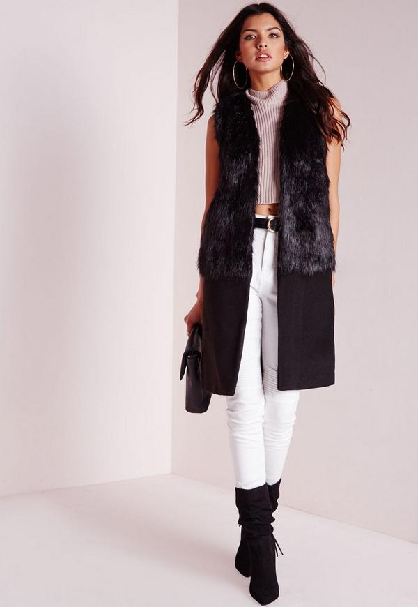 Sleeveless Wool Coat with Faux Fur Black