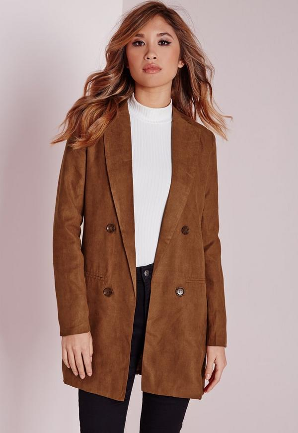 Faux Suede Double Breasted Blazer Tan