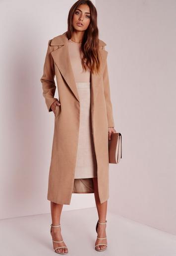 Oversized Camel Coat | Missguided