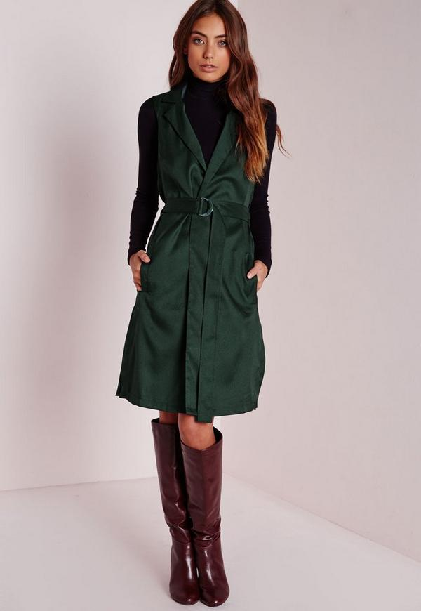 Sleeveless D Ring Blazer Forest Green