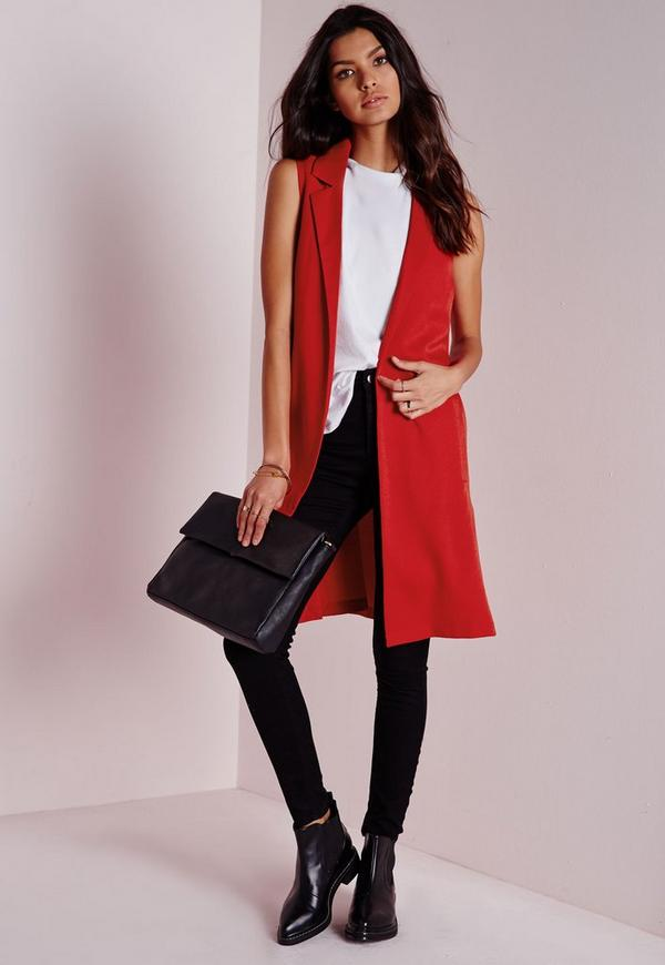 Sleeveless D Ring Blazer Red