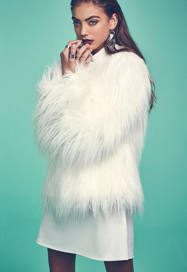 Mongolian Faux Fur Coat White - Coats and Jackets - Faux Fur Coats ...