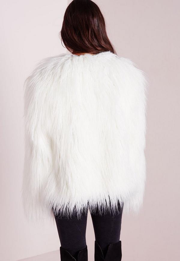 Mongolian Faux Fur Coat White | Missguided