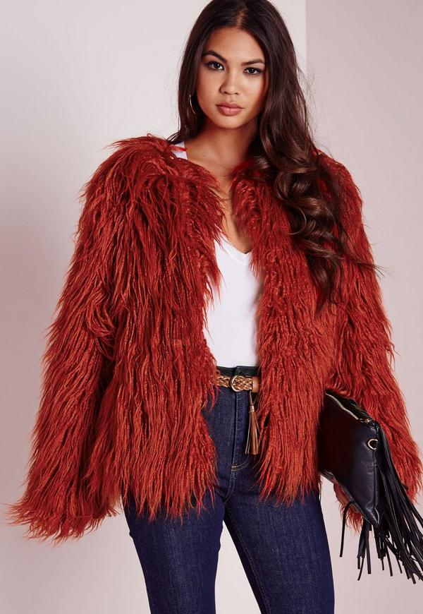 Mongolian Faux Fur Coat Rust