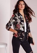 Black Premium Embroidered Floral Bomber Jacket