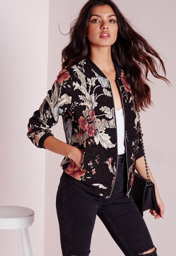 Veste A Fleur Fashion Femme Rose Et Noir