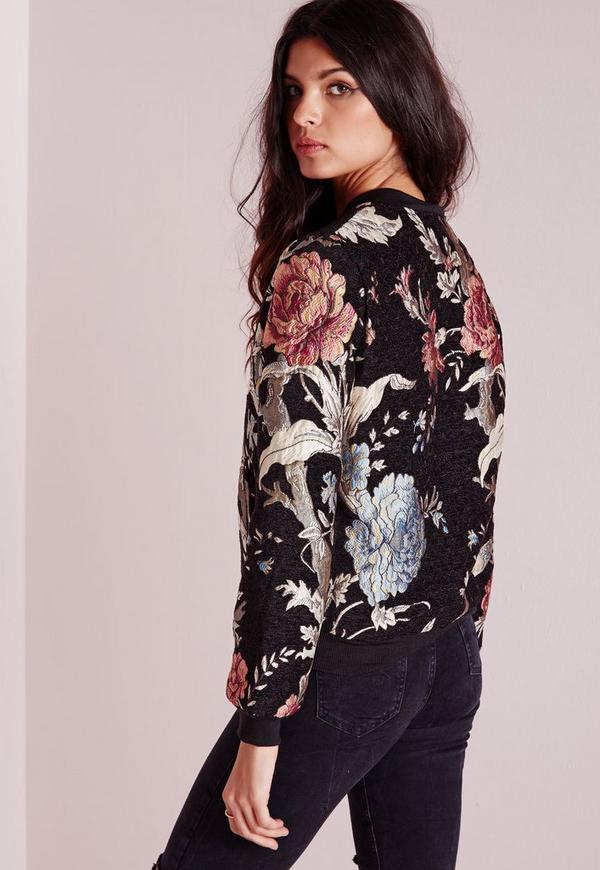 Black premium embroidered floral bomber jacket missguided