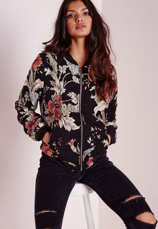 Black Premium Embroidered Floral Bomber Jacket | Missguided