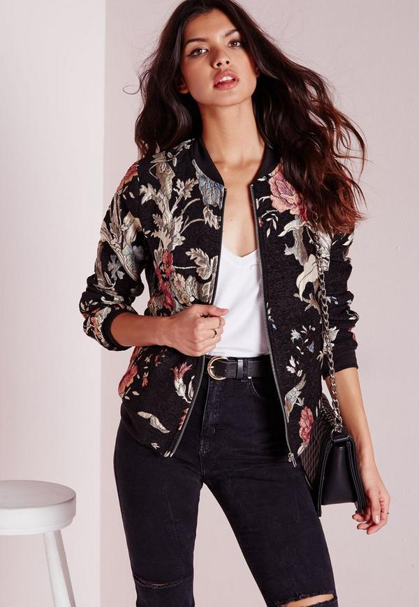 Black Premium Embroidered Floral Bomber Jacket Missguided