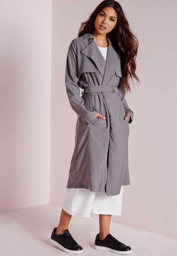 Draped Lightweight Trench Coat Grey