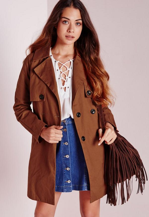 Cotton Double Breasted Trench Jacket Tan