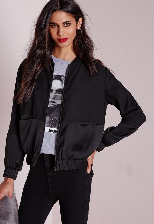 Women's satin black jacket au