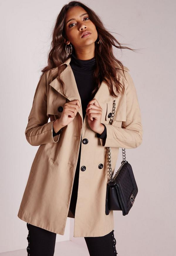 Double Breasted Trench Coat Stone