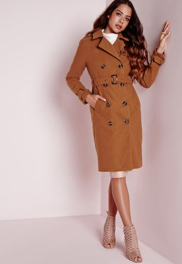 Wool Double Breasted Belted Trench Coat Tan