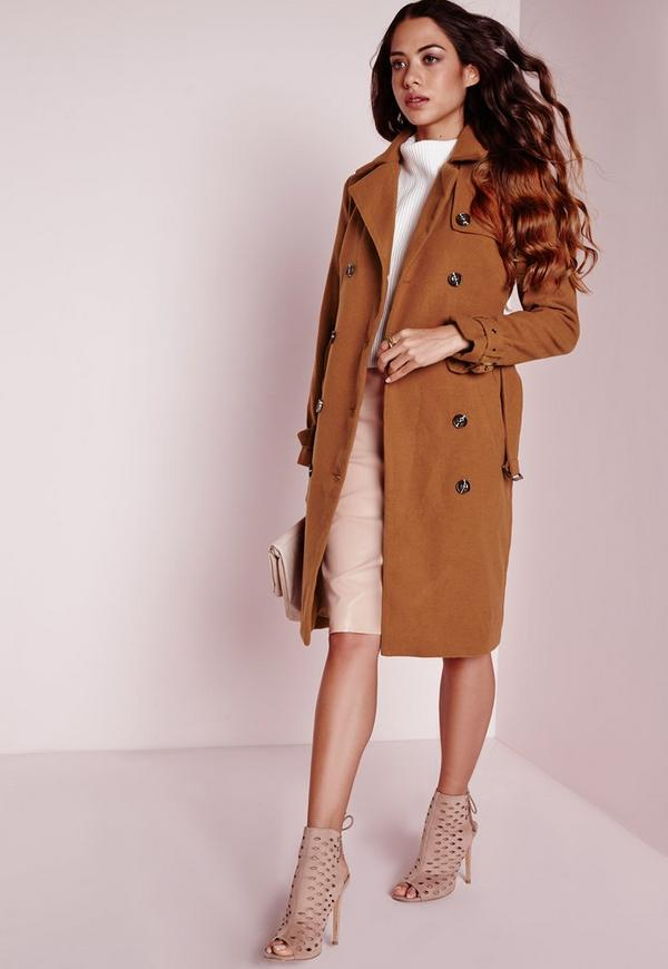 Wool Double Breasted Belted Trench Coat Tan | Missguided