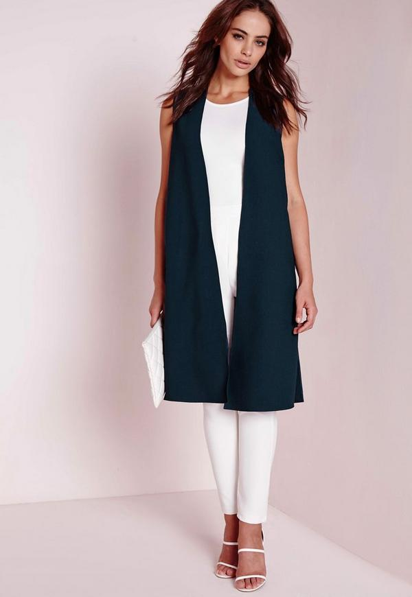 Sleeveless Duster Coat Teal