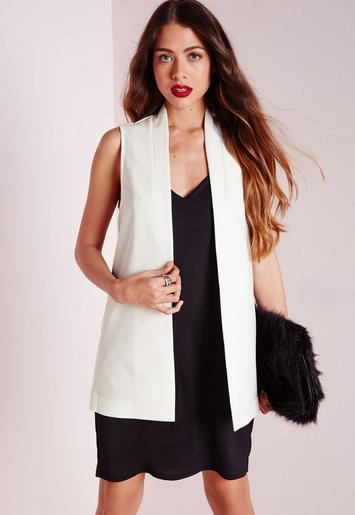 crepe sleeveless blazer white missguided. Black Bedroom Furniture Sets. Home Design Ideas