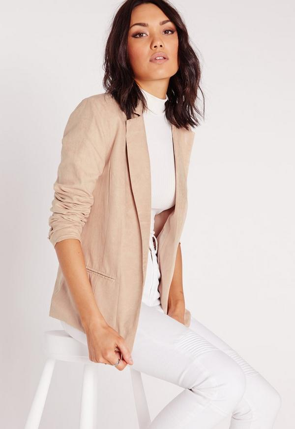 Faux Suede Blazer Taupe