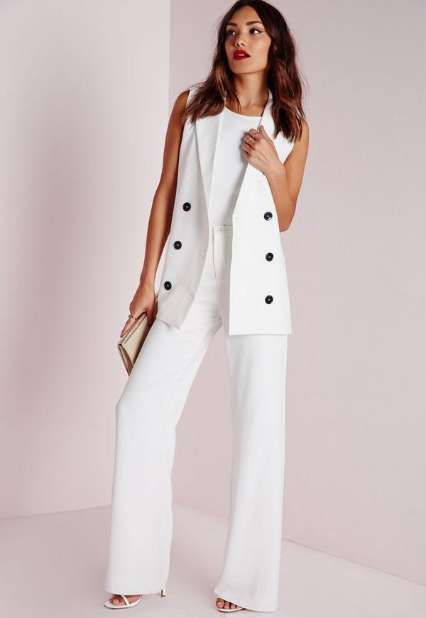 Sleeveless Double Breasted Tailored Blazer White