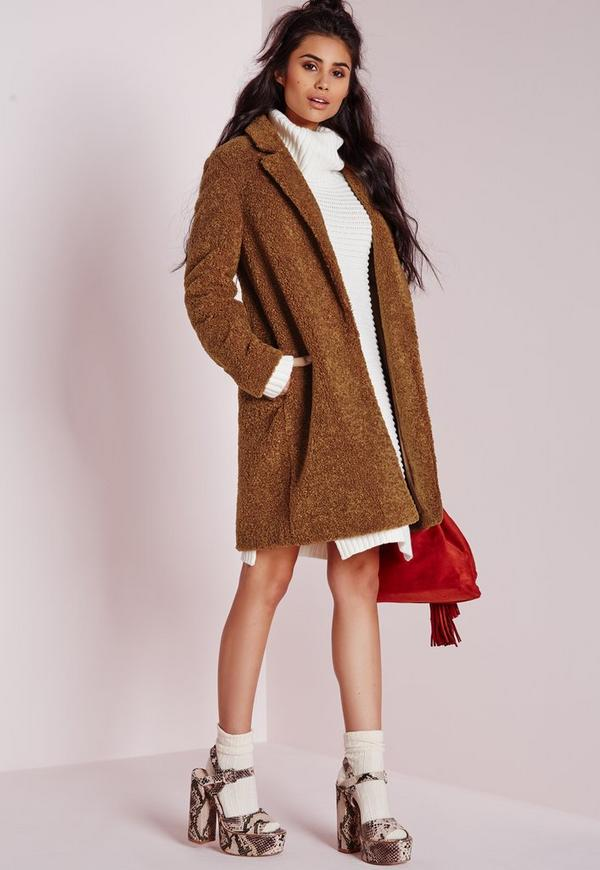 Teddy Curly Wool Coat Chocolate Brown