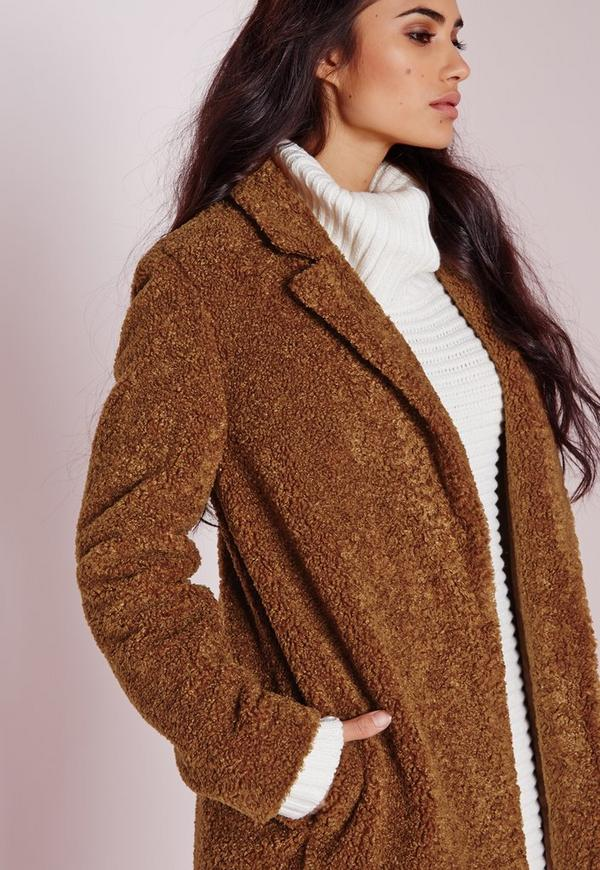 Teddy Curly Wool Coat Chocolate Brown | Missguided