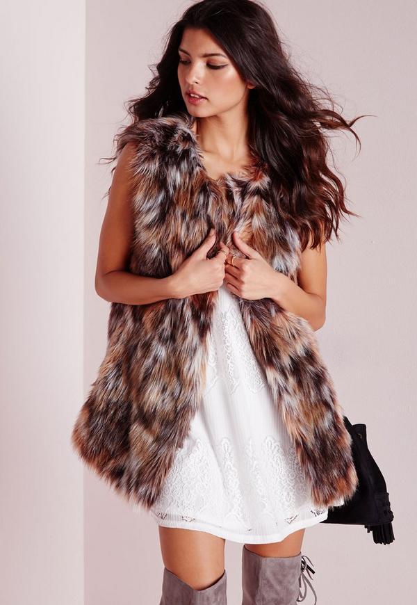 Faux Fur Longline 70s Gilet Multi