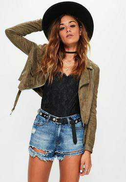 Faux Suede Long Sleeve Biker Jacket Khaki