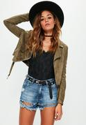 Khaki Faux Suede Long Sleeve Biker Jacket