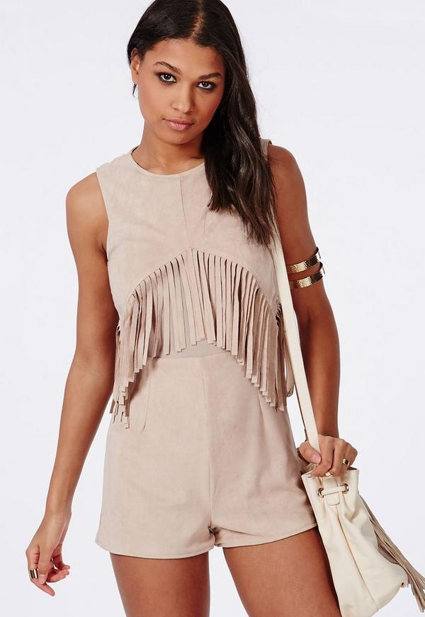 Suedette Fringed Front Playsuit Nude