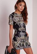 Zulu Paisley Print Cap Sleeve Playsuit Black