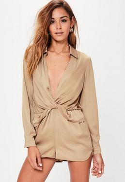 Satin Wrap Playsuit Nude