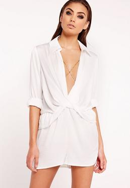 Satin Wrap Playsuit White
