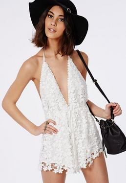 Lace Halterneck Drawstring Playsuit White