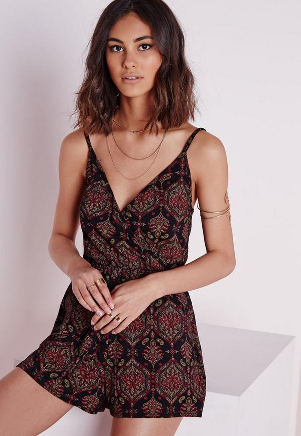 Jersey Paisley Strappy Playsuit Black