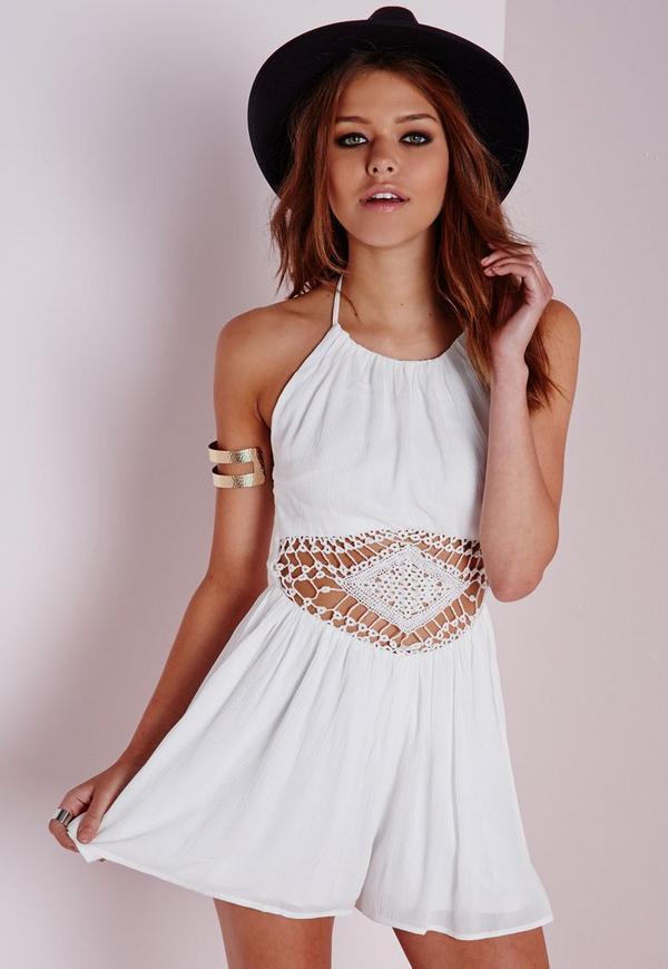 Crochet Waist Playsuit White