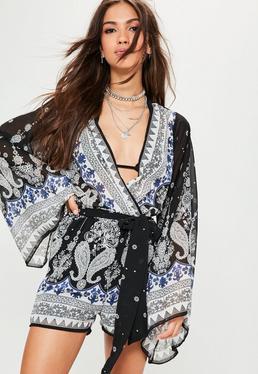 Paisley Kimono Sleeve Playsuit Black