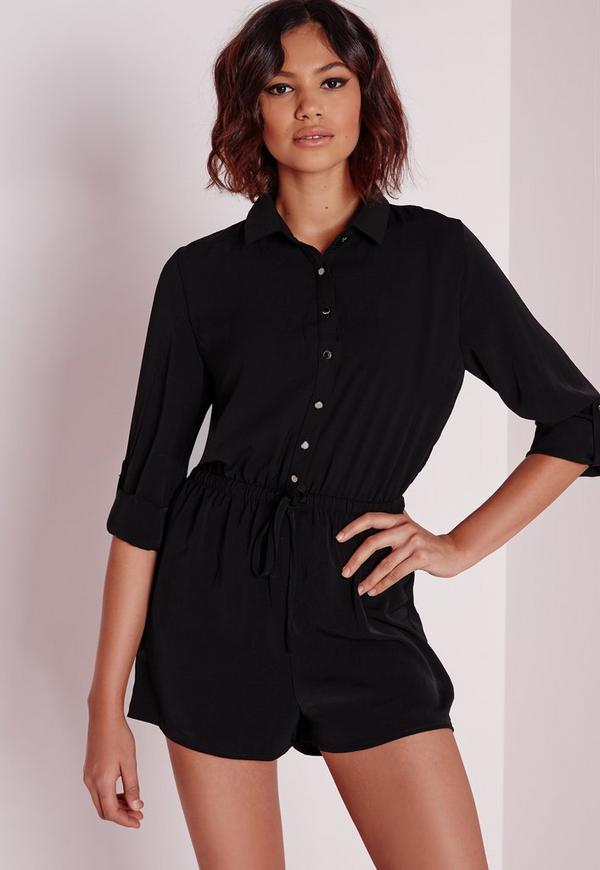 Drawstring Waist Shirt Playsuit Black