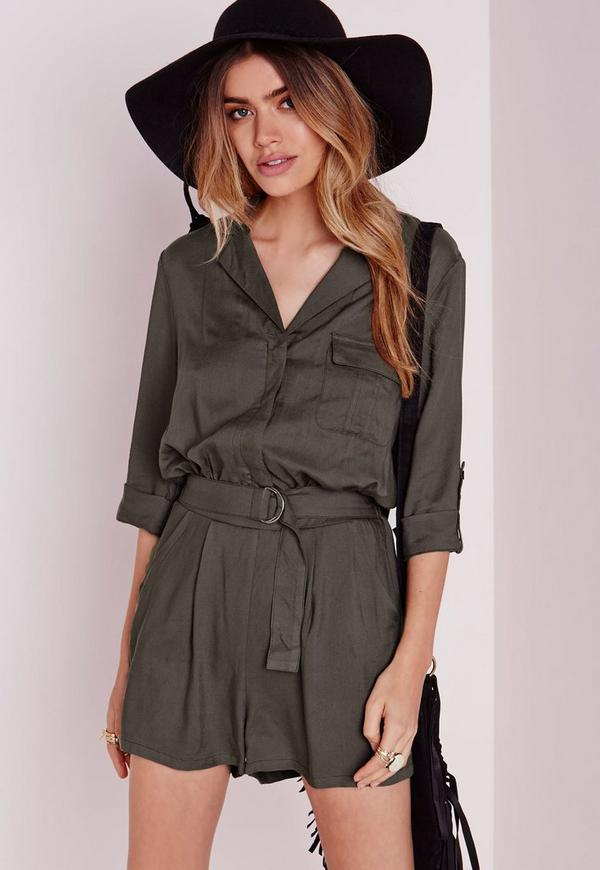 Utility D-Ring Playsuit Khaki