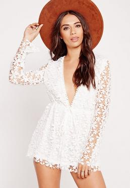 Lace Long Sleeve Plunge Playsuit White