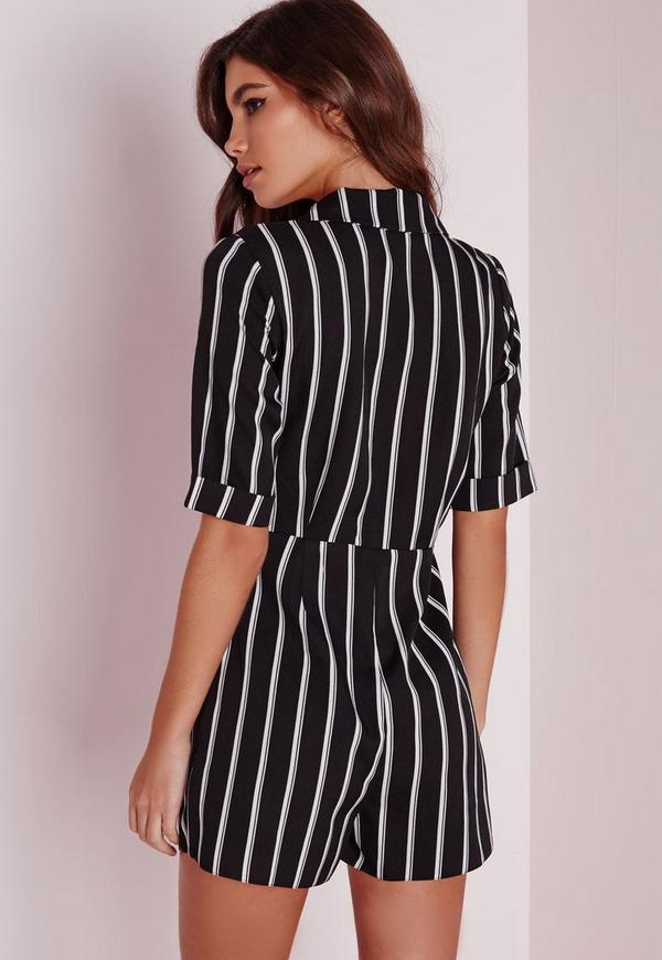 Stripe Blazer Style Romper Black Missguided