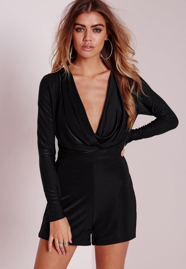 Cowel Front Playsuit Black